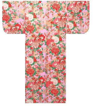 Photo1: Girls' 35inch / Japanese Yukata -botan temari- Pink, Cotton - SPECIAL DISCOUNT
