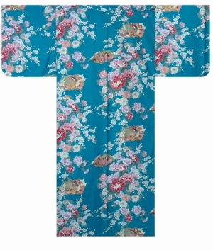 Photo1: Girls' 50inch / Japanese Kimono -hime botan- Tq blue, Cotton - SPECIAL DISCOUNT