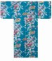 Photo1: Girls' 25inch / Japanese Kimono -hime botan- Tq blue, Cotton - SPECIAL DISCOUNT (1)