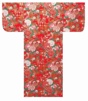 Photo1: Girls' 40inch / Japanese Yukata -botan temari- Red, Cotton - SPECIAL DISCOUNT