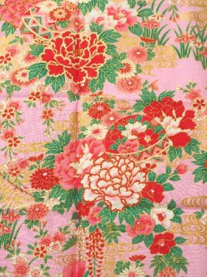 Photo2: Girls' 50inch / Japanese Yukata -botan temari- Pink, Cotton - SPECIAL DISCOUNT