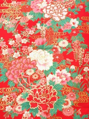 Photo2: Girls' 40inch / Japanese Yukata -botan temari- Red, Cotton - SPECIAL DISCOUNT