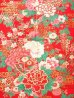 Photo2: Girls' 40inch / Japanese Yukata -botan temari- Red, Cotton - SPECIAL DISCOUNT (2)