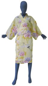 One size fits all / Ladies' Japanese Robe -botan tsuru- Yellow, Cotton, 42in - SPECIAL DISCOUNT