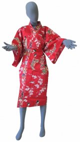 Ladies' Japanese Robe -tachisugata- Red, Cotton, 42in / Kimono ladies