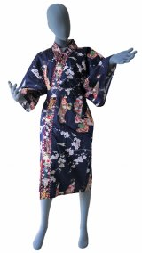 Ladies' Japanese Robe -tachisugata- Navy, Cotton, 42in / Kimono ladies