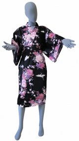 Ladies' Japanese Robe -kikubotan- Black, Cotton, 42in / Flying crane and peony