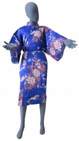 Ladies' Japanese Robe -kikubotan- Blue, Cotton, 42in / Flying crane and peony