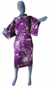 Ladies' Japanese Robe -kikubotan- Purple, Cotton, 42in / Flying crane and peony