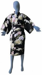 One size fits all / Ladies' Japanese Robe -botan tsuru- Black, Cotton, 42in - SPECIAL DISCOUNT