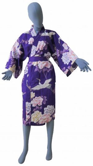 Photo1: One size fits all / Ladies' Japanese Robe -botan tsuru- Purple, Cotton, 42in - SPECIAL DISCOUNT