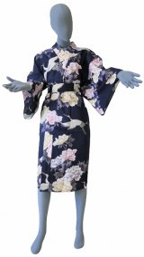 One size fits all / Ladies' Japanese Robe -botan tsuru- Navy, Cotton, 42in - SPECIAL DISCOUNT