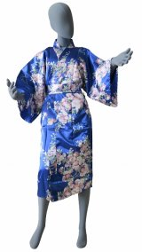 Ladies' Japanese Robe -sakura moji- Blue, Polyester, 42in / Cherry blossoms with character