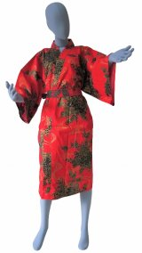 Ladies' Japanese Robe -hana ryusui- Red, Cotton, 42in / Flowing peony