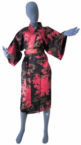 Ladies' Japanese Robe -hana ryusui- Black, Cotton, 42in / Flowing peony