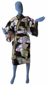 Ladies' Japanese Robe -comon senmen- Black, Cotton, 42in / Golden fan