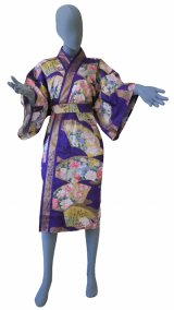 Ladies' Japanese Robe -comon senmen- Purple, Cotton, 42in / Golden fan