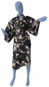 Ladies' Japanese Robe -chouchou- Black, Cotton, 42in / Cherry blossoms & butterfly