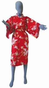 Ladies' Japanese Robe -chouchou- Red, Cotton, 42in / Cherry blossoms & butterfly