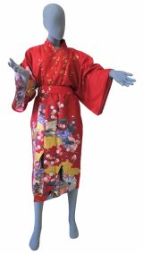 One size fits all / Ladies' Japanese Robe -yuzen- Red, Cotton, 45in - SPECIAL DISCOUNT