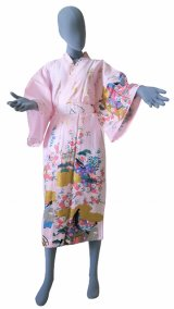 One size fits all / Ladies' Japanese Robe -yuzen- Pink, Cotton, 45in - SPECIAL DISCOUNT