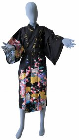 One size fits all / Ladies' Japanese Robe -yuzen- Black, Cotton, 45in - SPECIAL DISCOUNT