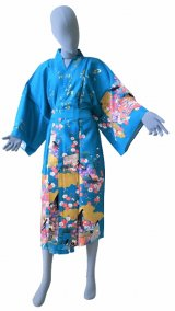 One size fits all / Ladies' Japanese Robe -yuzen- Tq blue, Cotton, 45in - SPECIAL DISCOUNT