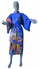 One size fits all / Ladies' Japanese Robe -yuzen- Blue, Cotton, 45in - SPECIAL DISCOUNT