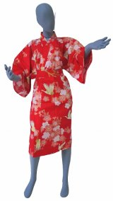 Ladies' Japanese Robe -sakuratsuru- Red, Cotton, 42in / Cherry blossom and crane