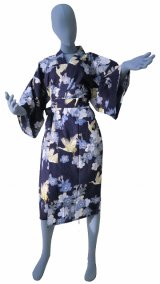 Ladies' Japanese Robe -sakuratsuru- Navy, Cotton, 42in / Cherry blossom and crane