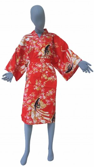 Photo1: One size fits all / Ladies' Japanese Robe -hime zakura- Red, Cotton, 42in - SPECIAL DISCOUNT