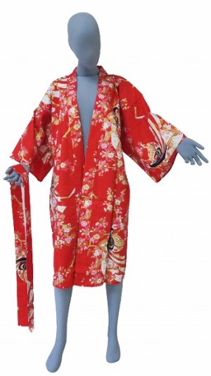 Photo2: One size fits all / Ladies' Japanese Robe -hime zakura- Red, Cotton, 42in - SPECIAL DISCOUNT
