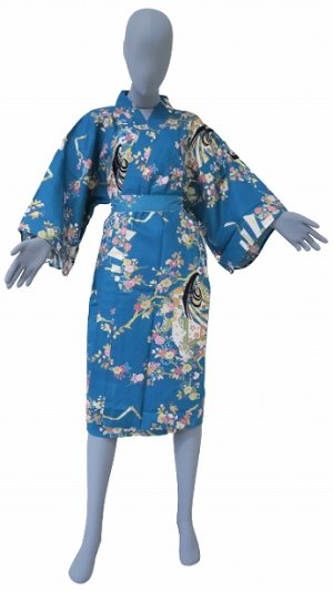 Photo1: One size fits all / Ladies' Japanese Robe -hime zakura- Tq blue, Cotton, 42in - SPECIAL DISCOUNT