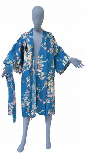 Photo2: One size fits all / Ladies' Japanese Robe -hime zakura- Tq blue, Cotton, 42in - SPECIAL DISCOUNT