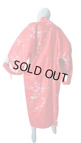 One size fits all / Ladies' Japanese Robe -ume uguisu- Red, Cotton, 48in - SPECIAL DISCOUNT
