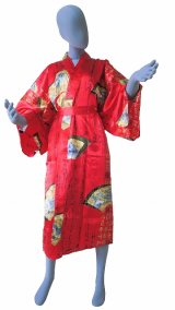 One size fits all / Ladies' Japanese Robe -sensumoji- Red, Silk, 45in - SPECIAL DISCOUNT
