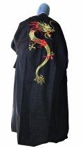 Men's Japanese Kimono -kaenryu- Black, Cotton, Medium, Embroidery / Flare dragon