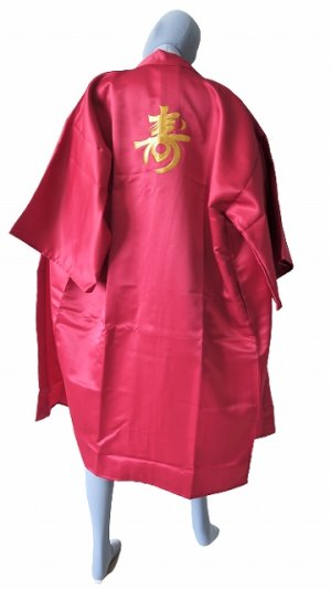 Photo1: One size fits all / Ladies' Japanese Robe -kotobuki- Red, Polyester, 42in, Embroidery - SPECIAL DISCOUNT