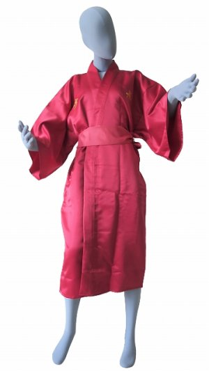 Photo2: One size fits all / Ladies' Japanese Robe -kotobuki- Red, Polyester, 42in, Embroidery - SPECIAL DISCOUNT