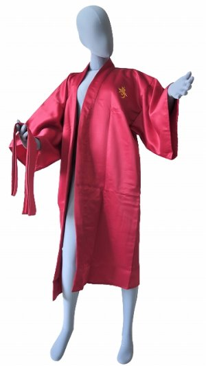 Photo3: One size fits all / Ladies' Japanese Robe -kotobuki- Red, Polyester, 42in, Embroidery - SPECIAL DISCOUNT
