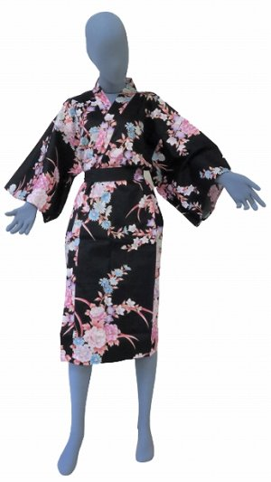 Photo1: One size fits all / Ladies' Japanese Robe -botangiku- Black, Cotton, 42in - SPECIAL DISCOUNT