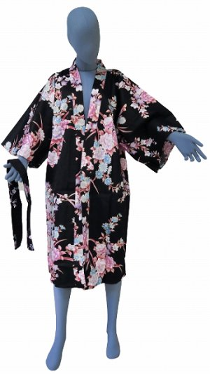 Photo2: One size fits all / Ladies' Japanese Robe -botangiku- Black, Cotton, 42in - SPECIAL DISCOUNT