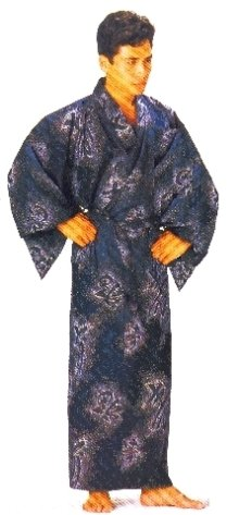 Other Images1: Medium / Men's Japanese Yukata -futojima- Black, Cotton - SPECIAL DISCOUNT