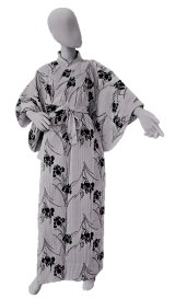 Ladies' Japanese Yukata -shima ayame- White, Cotton, Xlarge / Iris & stripe