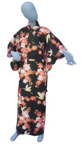 Ladies' Japanese Yukata -sakura tsuru- Black, Cotton, Large / Cherry blossom and crane