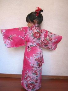 Other Images1: Girls' 40inch / Japanese Kimono -hime botan- Tq blue, Cotton - SPECIAL DISCOUNT