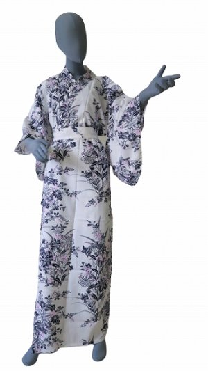 Photo1: Ladies' Japanese Yukata -yuri- White, Cotton, Xlarge / Lilies