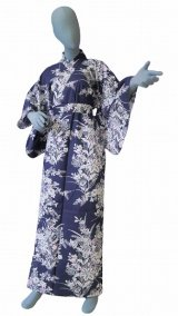 Ladies' Japanese Yukata -yuri- Navy, Cotton, Xlarge / Lilies