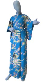 Ladies' Japanese Yukata -himezakura- Tq blue, Cotton, Large / Cherry princess