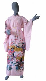Ladies' Japanese Kimono -kinmoji yuzen- Pink, Cotton, Medium / -yuzen- Princess